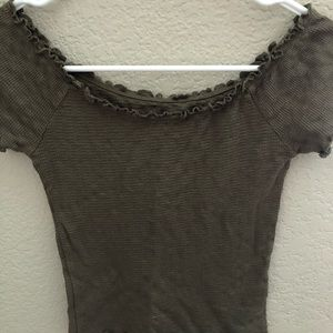 pacsun off the shoulder olive green top